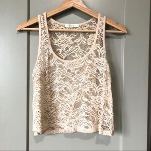 F21 Light Pink Floral Lace Scoop Neck Tank Top